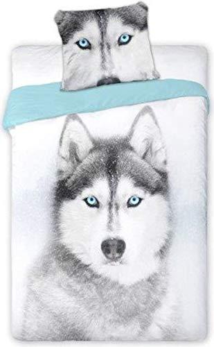 Bettwäsche 140x200 + 70x90 Hund Bettbezug Bettgarnitur Husky