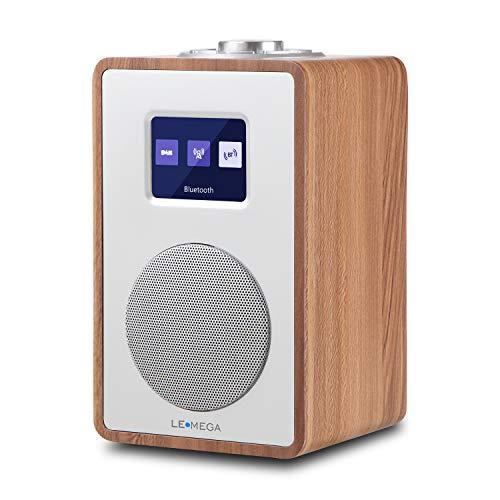 LEMEGA CR4 Radio numérique Dab/Dab +/FM,Bluetooth, boîte en Bois,Radio reveil, Affichage Couleur,Sortie Casque,Adaptateur Secteur-Noyer