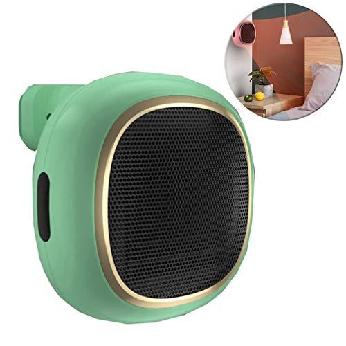 DASGF draagbare mini-ventilatorkachel, PTC-keramiek, personal space-heater, wand- kantoor, mini-desktop-kleine badkamer, waterdicht, schokvrij (600/1000 W), groen