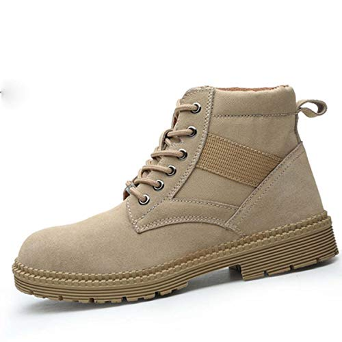 Mens Steel Toe Safety Shoes Leather Bulletproof Midsole Casual Anti Slip Work Ankle Boots Male Military Shoes In Outdoor Shoes High Cut 45