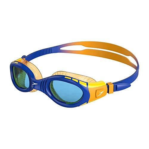 Speedo Unisex-Jeugd Futura Biofuse Flexiseal Junior Zwembril, Prachtig Blauw/Mango/Blauw, One Size