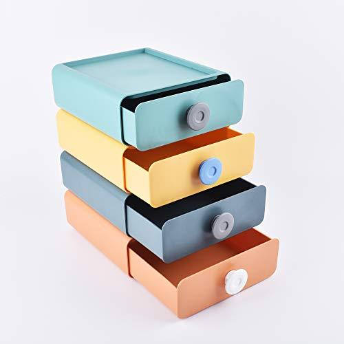 Cajas de almacenamiento de cajones, caja de almacenamiento de escritorio, almacenamiento de cosméticos, suministros de oficina, cajas de almacenamiento apilables (4 colores por juego)