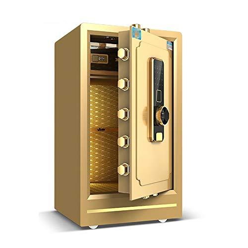 Piccola robusta sicura Casa cassaforte, cassaforte per impronte digitali biometriche, cabina di blocco, cassaforte digitale in acciaio solido Per i monili money. ( Color : Gold , Size : 40x36x60cm )