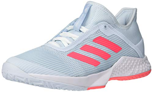 adidas Women's Adizero Club Tennis Shoe, Sky Tint/Pink/White, 11.5
