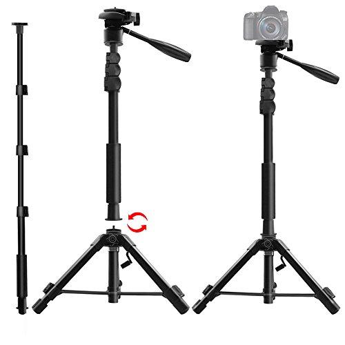 カメラ三脚 一脚可変式 3ウェイ自由雲台 360度回転可能 カメラ一脚 三脚スタンド型 水準器 カメラ・スマホ...