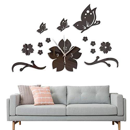 3D Große Wanduhren, FANDE Schmetterling Wandaufkleber, DIY Kunst Aufkleber, 3D Wandaufkleber Dekoration Acryl Spiegel, Moderne Mute DIY Wanduhr (Schwarz)