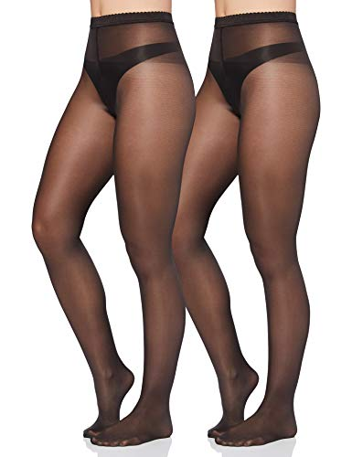 Iris & Lilly by Wolford Damen Strümpfe, 2er-Pack, Schwarz (Nearly Black), S, Label: S