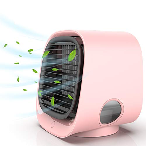 Mini Aire Acondicionado Portátil, Mini Enfriador de Aire Portátil, Mini Enfriador Portátil USB, Aire Acondicionado Portátil con 3 Velocidades,para el Hogar, Oficina, el Automóvil, etc. (Rose)