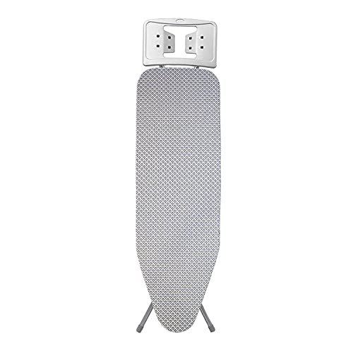DiseLio 1 Funda para Tabla de Planchar con 2 Capas, Estampado Pavo Real Gris. Adaptable a Tablas de hasta 42 x 120 cm. Tela algodón y muletón de Fibra. (FTP 2C Estam Pav_Re G)