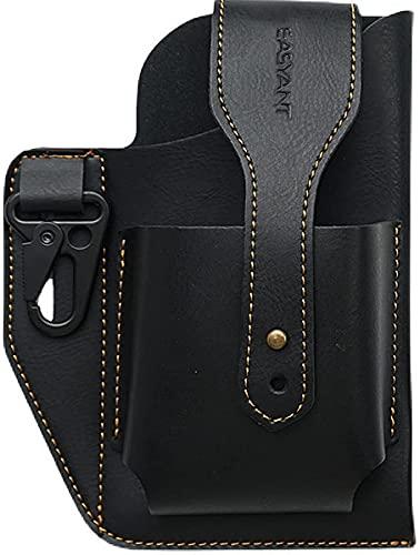 黒 2台収納ベルトポーチメンズ レザー2台収納ベルトiphoneホルスター革スマホ2台持ちケース携帯ケース ベルト通し付き 縦型 小物入れ小型ポケット付き
