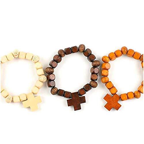 Mopec armband van hout met kruis. Verpakking van 3 kleuren met 6 stuks, bruin, eenheidsmaat.