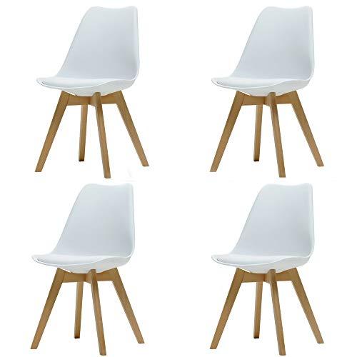 Comfortableplus Pack de 4 sillas de Comedor/Oficina con Madera de Haya Piernas para Comedor/Sala de Estar/Café/Restaurante, Blanco
