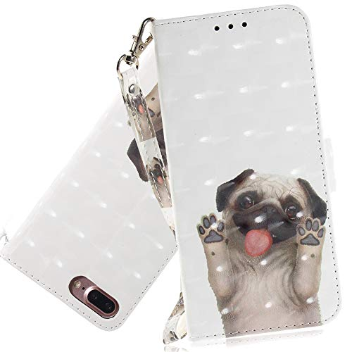 ISADENSER iPhone 8 Plus Case iPhone 7 Plus Case for Girly Women [Wallet Stand] Cute Design Stylish Kickstand Credit Cards Slot Cash PU Leather Flip Wallet Case for iPhone 8/7 Plus 3D Cute Pug TX