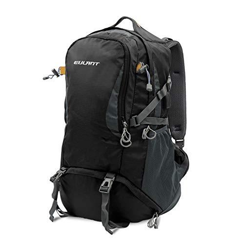 ONT Wanderrucksack mit Regenschutz Frauen Männer Reiserucksack mit USB-Ladeanschluss Kopfhöreranschluss Campingrucksack 60L/Schwarz