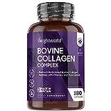Colágeno Bovino 180 Cápsulas - Péptidos de Colágeno Hidrolizado con Biotina, Vitamina B y MCT de Alta Absorción - Fuente de Proteínas de Colágeno Tipo 1 y 3 MCT, Para Piel, Huesos y Músculos