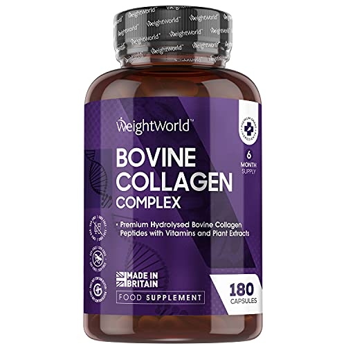 Collagen Complex Capsules with Biotin & Vitamin B Complex - 180 Capsules (6 Month Supply) - Skin, Hair & Nail Care Nutrition Supplement with Grass Fed Collagen Peptides, Keto Friendly - Made in UK