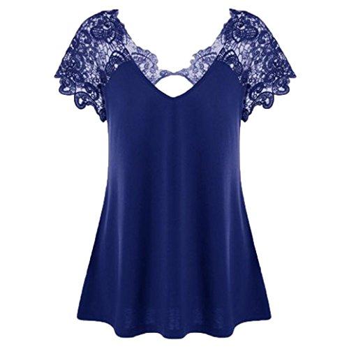 ESAILQ Damen Mode Übergröße Spitze Kurzarm V-Ausschnitt T-Shirt Bluse (Blau, 5XL)