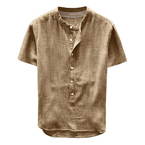 Celucke Leinenhemd Herren Kurzarm Henley Shirt Männer Einfarbig Freizeithemd Übergröße Sommer Casual Hemden Leichte Atmungsaktives Bequem Leinen Sommerhemden Loose Fit (Gelb, XL)