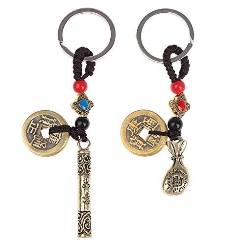 Suxgumoe Feng Shui Schlüsselanhänger, 2 Stück Vintage Chinese Five Emperors Münzen Schlüsselbund Geldsack Auto Schlüsselringe Charm Anhänger für Lucky Wealth Fortune (Goldener Reifen + Geldbeutel)