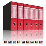 LogicaShop UBOX 6 Raccoglitori ad Anelli A4 Dorso 8 con Custodia Cartone, Formato Commerciale, Registratore con Meccanismo a Leva D, Raccoglitore con Scatola, Faldone Universale (Rosso)