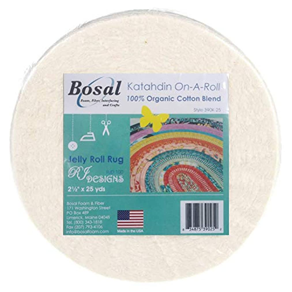 Bosal Katahdin Batting On-A-Roll, Summer 3 oz, 2-1/2 inch by 25 Yards, 100% Organic Cotton (4 Rolls),Off-White (4)