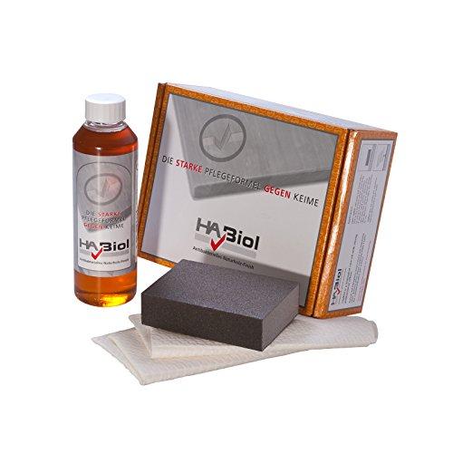 HABiol Pflegeset mit natürlichem und veganem Holzpflegeöl Küchenplattenöl, Arbeitsplattenöl Möbelpflege für INNEN