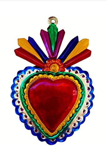 Tin Heart Milagro Ornament Colorful Mexican Folk Art Hand Made Valentine s Day Blue Edge product image