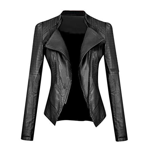 manadlian Damen Lederbekleidung Stehkragen PU Lederjacke Slim Fit Lässig Einfarbig Langarm Jacke Kurzmantel Bluse (M, Schwarz)