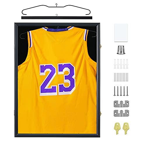 Mrwye Lockable Jersey Display Frame - Jersey Frames Display Case - Large Jersey Shadow Box for Baseball Basketball Football Hockey Sports Shirt with 98% UV Protection Acrylic Glass,2 Hanger(Black)