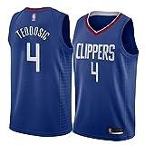 Camiseta de Baloncesto Milos Teodosic, Los Angeles Clippers # 4 Camiseta de Aficionado al Baloncesto para Hombre absorción rápida de Humedad Transpirable Secado rápido Limpieza repetible-Blue-L