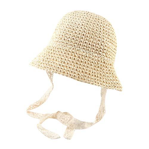 Zegeey Baby Kinder Sommer Atmungsaktiv Hut Stroh Hut Sonnenschutz Eimer Hut Kappe Beach Outdoor Hut Caps MüTze HüTe(Beige)