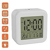 BonVivo DIGI Morning Alarm Clock Mit Weckfunktionen, LCD Wecker Digital, Digitalwecker Mit Uhrzeit, Datum & Temperatur, Wecker Batteriebetrieben, Uhr Wecker Mit Licht & Snooze Funktion, Tischuhr weiß