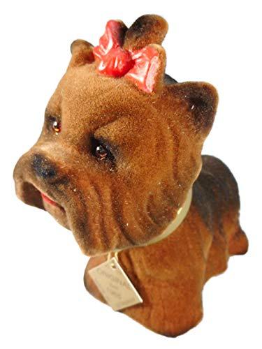 Wackelkopf Yorkshire Terrier 15 x 12 x 7 cm Hund Gartenzwerg Wackeltier PVC Deko GRS 95b