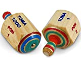 MoreFiesta Set of 2 Deluxe Pirinola Toma Todo Game - Box with 2 Hand Painted Wood 3 Inches Tall Spinning Tops Traditional Mexican Game in Spanish (Deluxe), for Cinco De Mayo Party