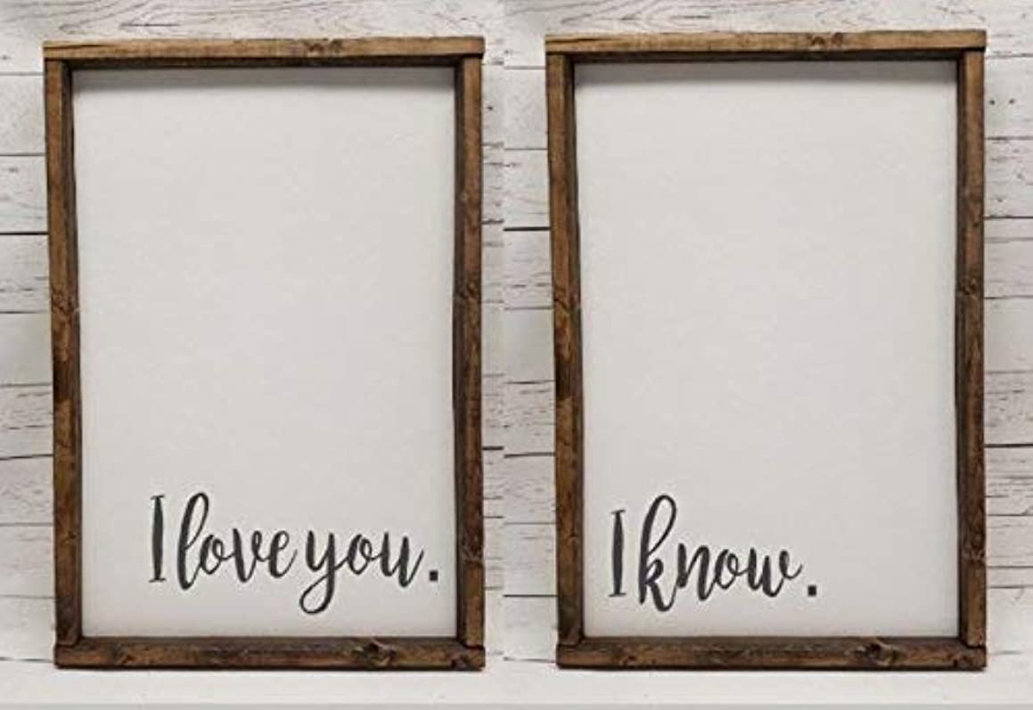 I love you. I know. Master Bedroom Decor, for wedding head table, You & Me, Farmhouse sign, fixer upper style, over bed sign