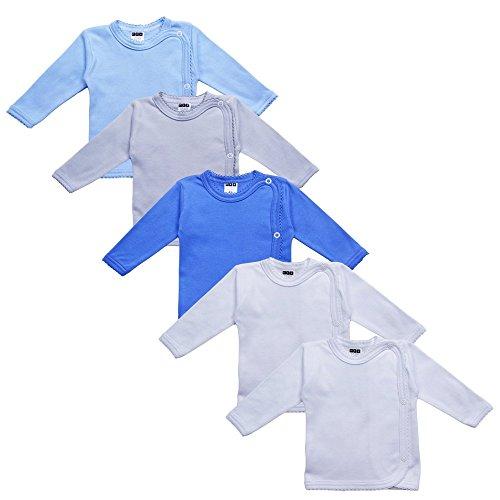 MEA BABY Unisex Baby Wickelshirt Wickeljacke Langarm, 100% Baumwolle im 5er Pack. Wickelshirt für Mädchen, Wickelshirt für Junge (Jungen, 62)