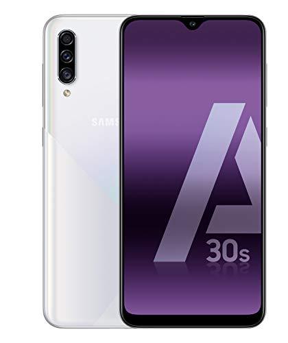 "Samsung Galaxy A30s Smartphone, Display 6.4"" Super AMOLED, 128 GB Espandibili, RAM 4 GB, Batteria 4000 mAh, 4G, Dual SIM, Android 9 Pie, Bianco"
