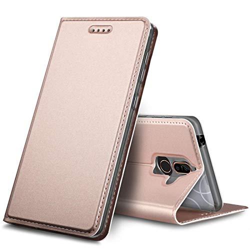 Verco Handyhülle für Nokia 7 Plus, Premium Handy Flip Cover für Nokia 7 Plus Hülle [integr. Magnet] Book Hülle PU Leder Tasche, Rosegold