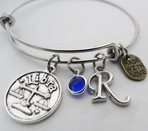Birthday Gift Libra Charm Bracelet Silver Libra Charm Zodiac Bracelet Silver Chain Bracelet Astrology Bracelet Zodiac Charm Jewelry