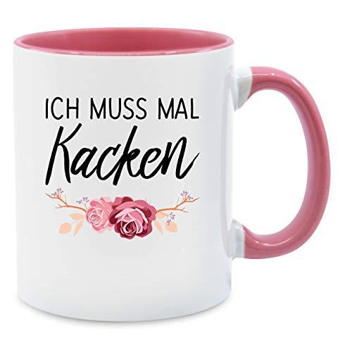 Shirtracer Statement Tasse - Ich muss mal kacken - Unisize - Rosa - kack Tasse - Q9061 - Kaffee-Tasse inkl. Geschenk-Verpackung