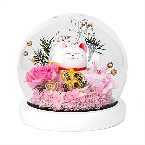 ZHUZEwei La Bella y la Bestia Gato de la Suerte Eterna Flor Rosa Bola de Cristal es Conveniente for los Regalos (Color : Pink)
