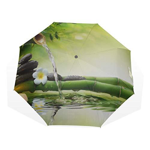 Regenschirm Steine im Garten mit fließendem Wasser Bambus Anti-UV-Kompakt 3-Fach Kunst Leichte Klappschirme (Außendruck) Winddicht Regen Sonnenschutzschirme Für Frauen Mädchen Kinder