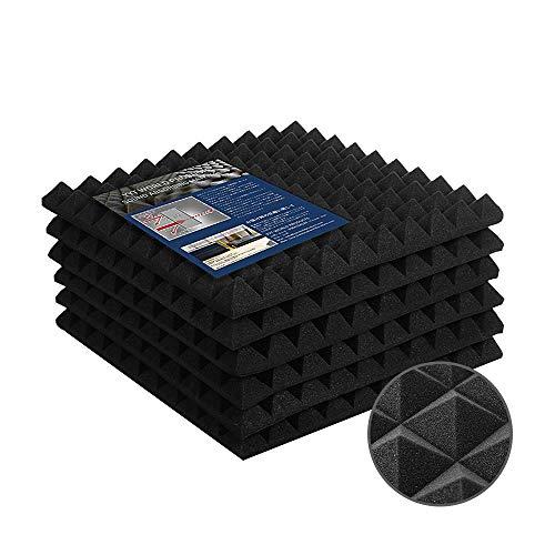 吸音材 防音 壁 防音材 YYT ウレタン 高反発高密度 部屋防音 极厚 不燃 無害 減震 ピラミッド型 50cm×50cm 厚さ5cm 6枚入 ブラック