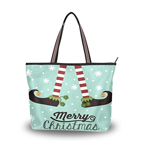 Ahomy Women Large Tote Top Handle Christmas Elf Legs Snowflake Canvas Shoulder Bag Shopping Bag