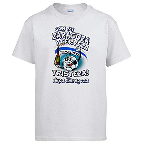 Camiseta Frase con mi Zaragoza y Cerveza Nunca Hay Tristeza para Aficionado al fútbol - Blanco, 9-11 años