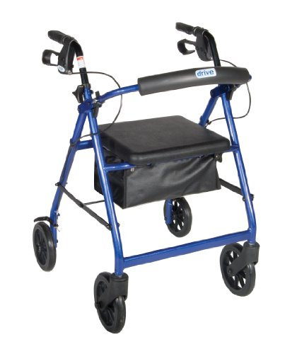 R728BL  Aluminum Rollator with Fold Up and Removable Back Support and Padded Seat Blue