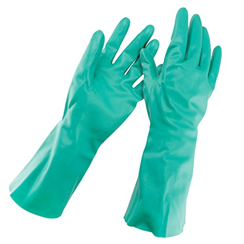 1 Paar Grün Lösungsmittel Öl Resistent Nitrilkautschuk Arbeitshandschuhe 30cm