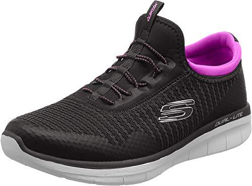 Skechers Synergy 2.0-Mirror Image, Zapatillas sin Cordones Mujer, Negro (BKPK), 40 EU