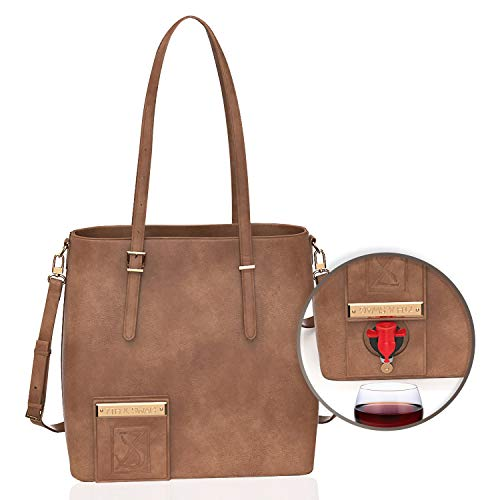 Swag Wine Bag 7th & Swag (Vegan Tan) High-end wine tote with thermal insulated & waterproof hidden compartment. Holds 2 Bottles of Wine