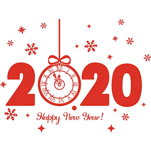 Happyyami New Year Window Stickers 2020 Happy New Year Snowflake Wall Stickers Windows Decal New Year Eve Party Wall Door Decoration for Home Shopping Mall (Red)